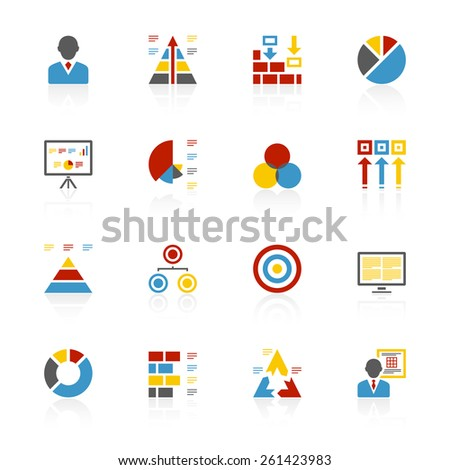 Vector illustration includes sixteen red, blue, yellow, and gray color icons with reflections on a white background. - stock vector