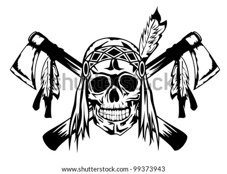 Vector illustration indian and tomahawk - stock vector