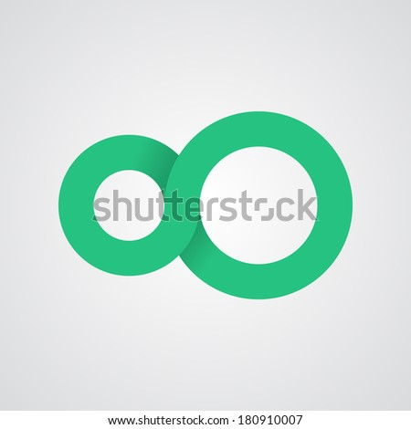 Vector illustration. Infinity symbol. Circle icon. Flat design. Minimal and simple. Easy to edit. - stock vector