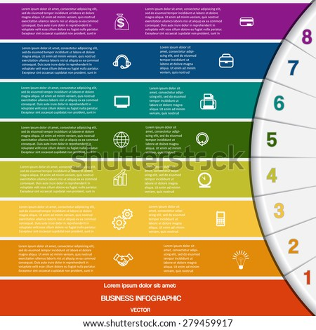 Vector illustration infographic for success business project and other Your variant template with text areas on eight positions, 8 colour strips and semicircle - stock vector