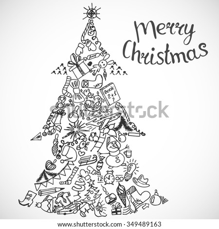 Vector illustration inscription Merry Christmas handmade. Xmas tree - Zen Tangle, dudling, black and white. Adult coloring books. - stock vector