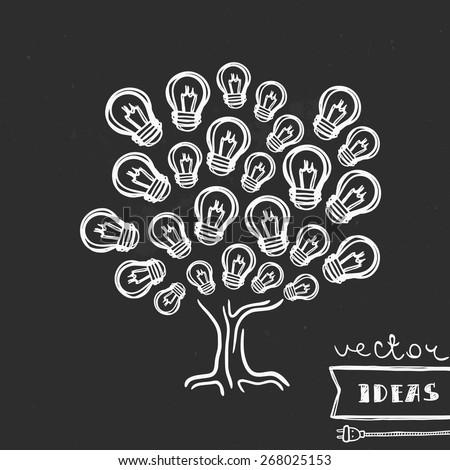 Vector illustration isolated on black, ideas growth concept, hand-drawn light bulb tree - stock vector