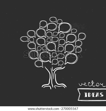 Vector illustration isolated on black, social media, brainstorm and communication tree concept - stock vector