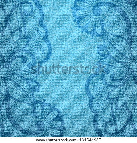Vector illustration jeans background with floral pattern. - stock vector