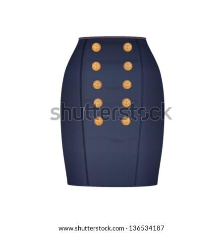 Vector illustration. Jeans skirt. Women elegant skirt.  Isolated over white background. - stock vector