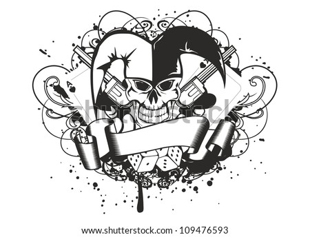 Vector illustration joker and revolvers - stock vector