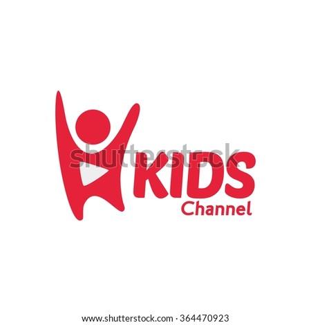 Vector Illustration Kids Channel Logo,Kids logo,Kids play logo,Vector Logo template. - stock vector