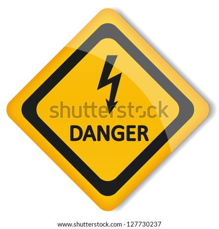 Vector illustration label electricity hazard - stock vector