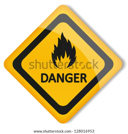 Vector illustration label flammable - stock vector