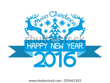 Vector illustration. Label with the wishes of merry Christmas and happy new year - stock vector