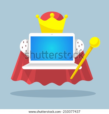 vector illustration laptop emperor with a scepter and a crown on a grey background to advertise banner print - stock vector