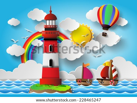 Vector illustration  lighthouse with seascape.paper cut style. - stock vector