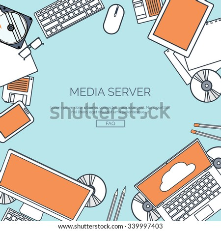 Vector illustration, lined.  Flat cloud computing background. Data storage network technology. Multimedia content, web sites hosting. Memory, information transfer. - stock vector