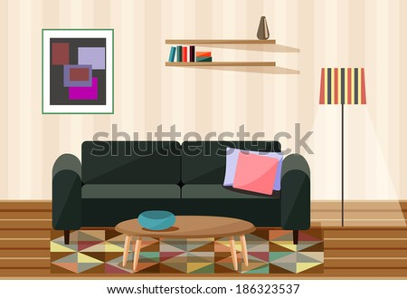 vector illustration , living room - stock vector