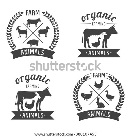 Vector Illustration logos and badges farm animals isolated or white background. Farm animals badges - stock vector