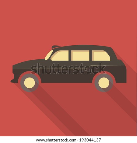 Vector illustration long shadow flat icon of london taxi - stock vector
