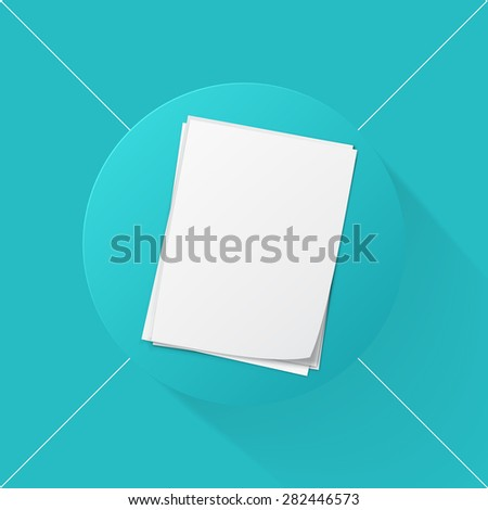 Vector illustration long shadow flat icon of stack of papers - stock vector