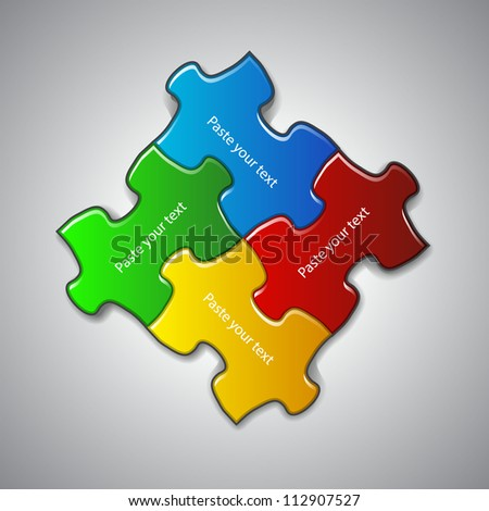 Vector illustration made from four colorful puzzle pieces - stock vector