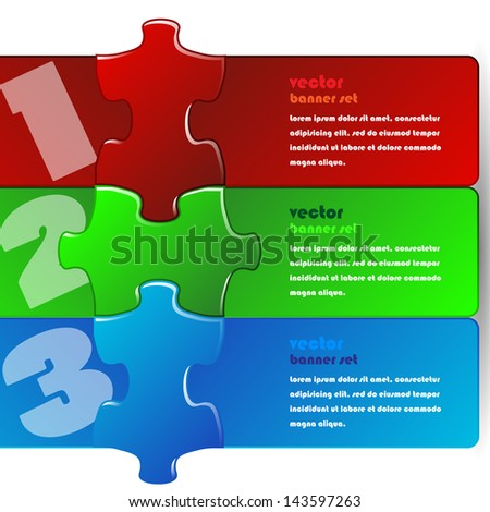 Vector illustration made from three colorful puzzle pieces - banner design - stock vector