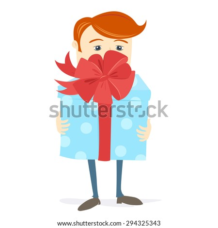 Vector illustration Man holding big gift box with bow - stock vector