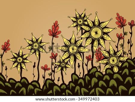 Vector illustration, mandala flower landscape in pastel tones, garden sketch suitable for postcards, card concept. - stock vector