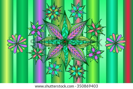 Vector illustration, mandala flowers on stripped background, card concept landscape. - stock vector