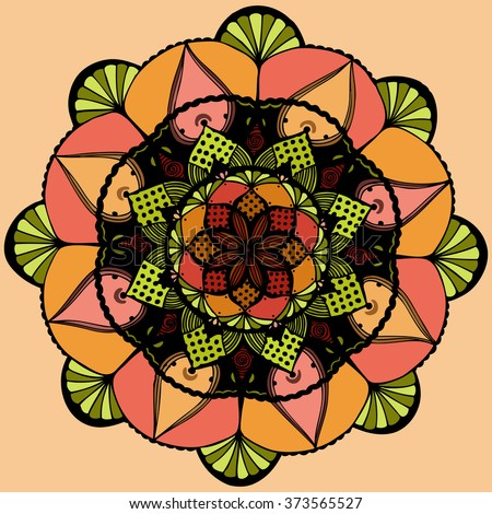 Vector illustration, mandala in vintage tones, kaleidoscope sketch suitable for print and pattern, card concept. - stock vector