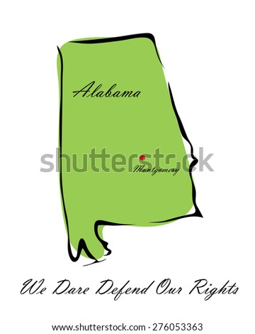 Vector illustration map Alabama is one of the states of America isolated on a white background - stock vector