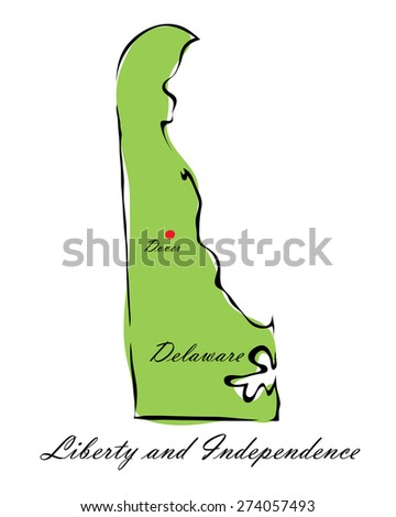 Vector illustration map Delaware of America isolated on a white background - stock vector