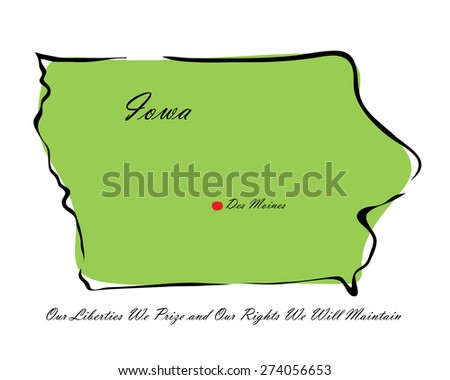 Vector illustration map Iowa of America isolated on a white background - stock vector