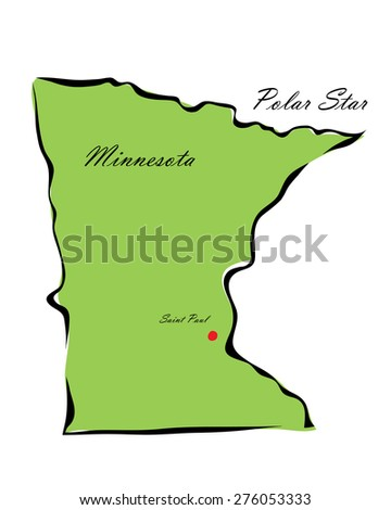 Vector illustration map Minnesota is one of the states of America isolated on a white background - stock vector