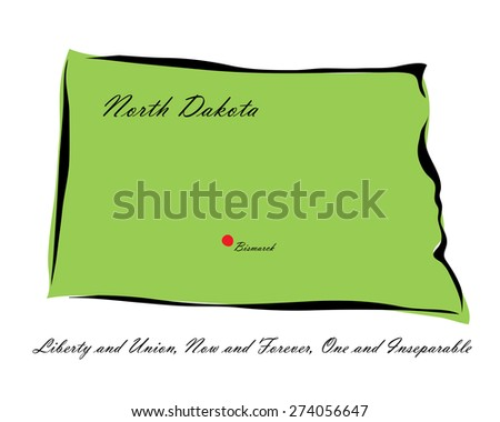 Vector illustration map North Dakota of America isolated on a white background - stock vector