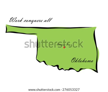 Vector illustration map Oklahoma is one of the states of America isolated on a white background - stock vector
