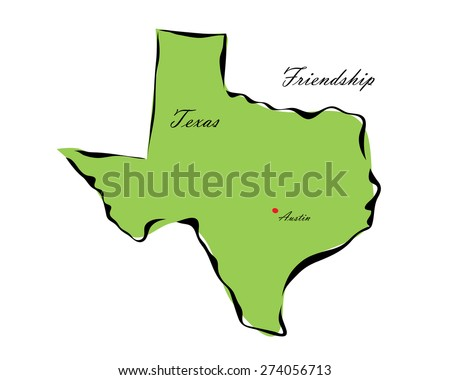 Vector illustration map Texas of America isolated on a white background - stock vector