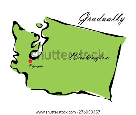 Vector illustration map Washington is one of the states of America isolated on a white background - stock vector