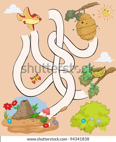 Vector illustration, maze, help the bird reach her house, card concept. - stock vector