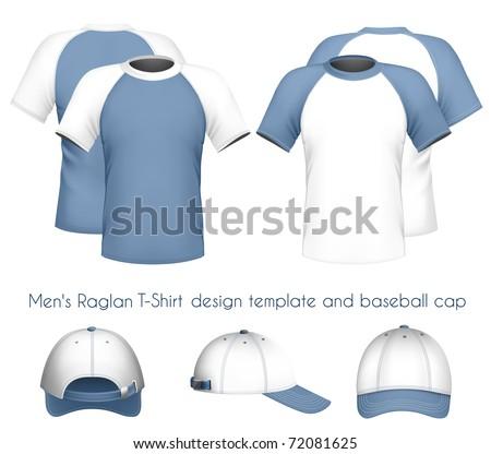 Vector illustration. Men's raglan t-shirt design template & baseball cap. - stock vector
