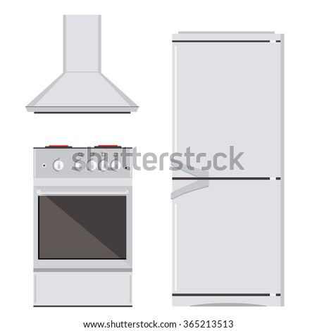 Vector illustration modern electric or gas stove, refrigerator or fridge and extractor kitchen hood icon set. House appliance. Kitchen appliance - stock vector
