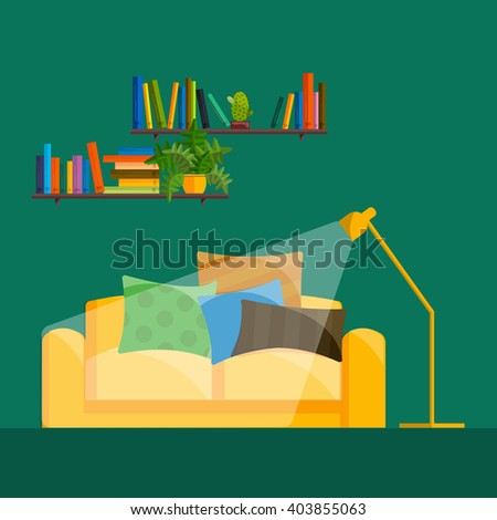 vector illustration,modern home furniture in living room interior design, house indoor wall decorated with sofa, lamp, table  - stock vector