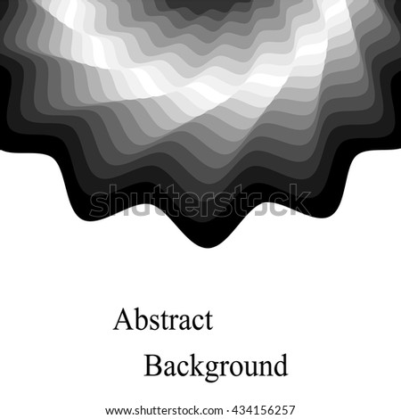 Vector Illustration.Monochrome Waves Shimmering from Dark to Light.Template for Visiting Cards, Labels, Fliers, Banners, Badges, Posters, Stickers and Advertising Actions.Geometric Abstract Background - stock vector