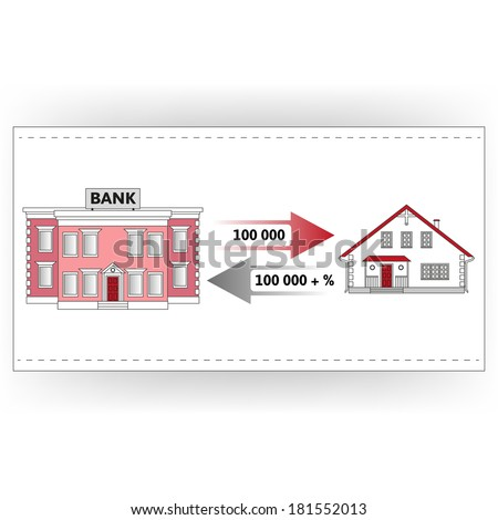 Vector illustration: mortgage loan to buy a house. Returns mortgage loan with interest. Infographics: Mortgage loan as a cash flow. Buying real estate in white, red, grey colors. - stock vector
