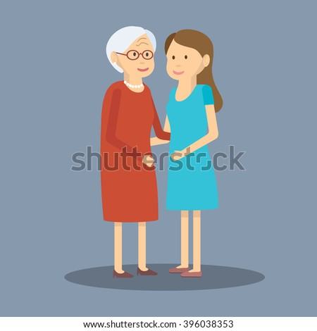 Vector illustration mother and daughter/Adult daughter and elderly mother are embracing/Flat design/Two generations of women adult daughter and her elderly mother. Happy mothers day - stock vector