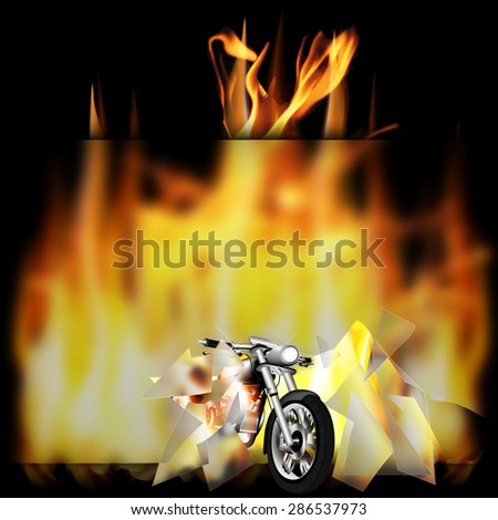 vector illustration motorbike, chopper, smashes a glass frame and pulled out of the fire - stock vector