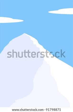 Vector illustration - Mount Everest, South Col - highest peak of world - Himalayas, Nepal, Tibet, China - mountain landscape - stock vector