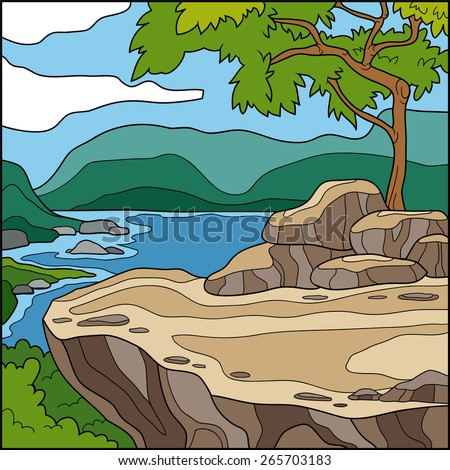 Vector illustration, natural background (cliff overlooking the sea) - stock vector