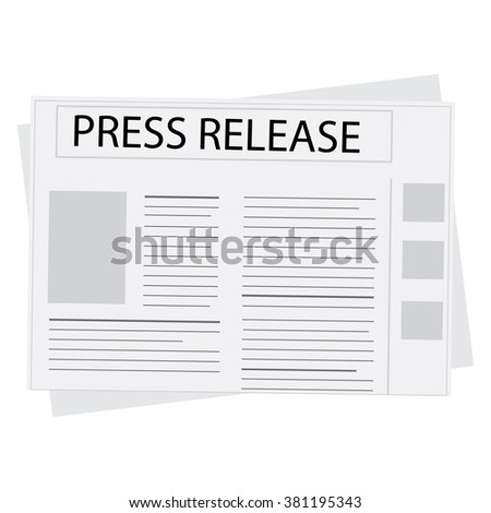 Vector illustration newspaper icon with header press release - stock vector