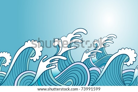 vector illustration ob blue splashing waves - stock vector