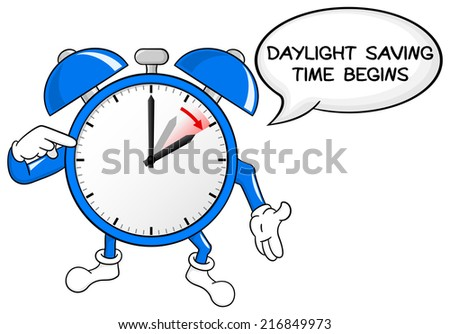 vector illustration of a alarm clock switch to summer time  daylight saving time begins - stock vector