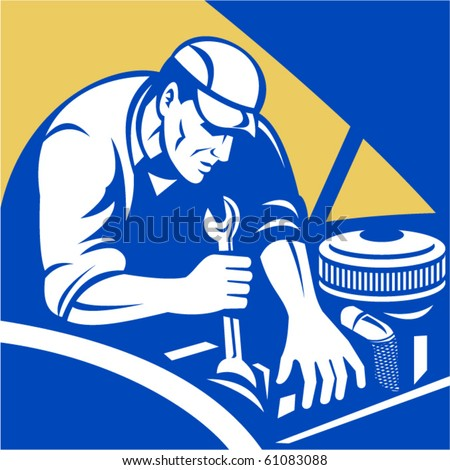 vector illustration of a Automobile car repair mechanic with spanner set inside a square format. - stock vector