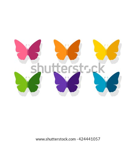 Vector Illustration of a Background with Colorful Paper Butterflies - stock vector